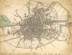 old map of Dublin Dublin Street, Dublin City, Dublin Map, Dublin Ireland, Historical Maps, Historical Society, Vintage Wall Art, Vintage Walls, City Library