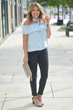 chambray and black denim for fall | www.fizzandfrosting.com