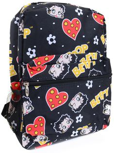 Make going back to school fun and fashionable when you don this adorable all over Betty Boop print backpack! Featuring zippered top opening, single end pocket and silver toned hardware. The padded sho