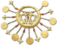 Gold earring from Mycenae, Late Helladic I (16th century BC).