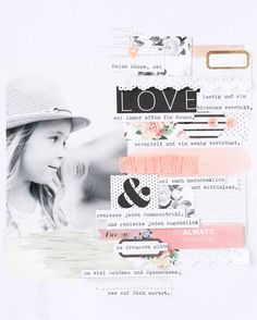 8.5 x 11 SCRAPBOOK LAYOUT ~ This is such a beautiful page, I love how the photo just blends into the background and all the pretty pink and black details.