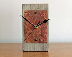 Rustic Mantel Clock with Salvaged Copper Face by ReclaimedTime on Etsy