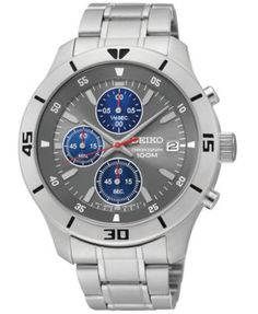 Seiko Men's Chronograph Stainless Steel Bracelet Watch 42mm SKS407   macys.com