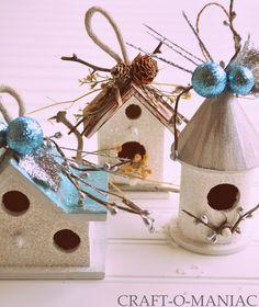DIY:: Embellished Dollar Bird House Ornaments