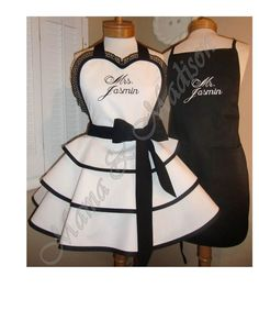 Mr. and Mrs. Custom Personalized Aprons Featuring Fancy Mr. & Mrs. Embroidered Onto Apron Bibs. Perfect Accessory For Any New Couple, Makes A Great