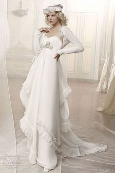 Look at the latest trends in winter wedding attire and you will face many wedding dresses with sleeves. Buying a wedding dress is not a quick choice because it is really the most important dress in… White Wedding Gowns, Beautiful Wedding Gowns, Perfect Wedding Dress, Bridal Wedding Dresses, Wedding Attire, Marie, Dresser, Bridal Collection, Dress Collection