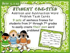 Word Problem Sentence Stem Frames for Cognitively Guided Instruction (CGI) Kids MAKE THEIR OWN word problems with these cards reminiscent of Mad-Libs.  FUN!