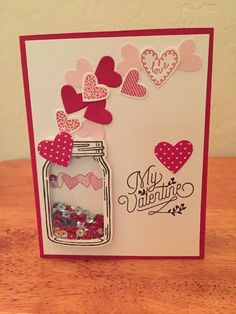 Stampin' Up Valentine Jar With Floating Hearts Shaker Card Kit- 4 Cards #StampinUp