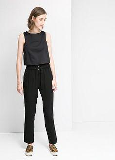 Flowy crepe trousers - Women | MANGO