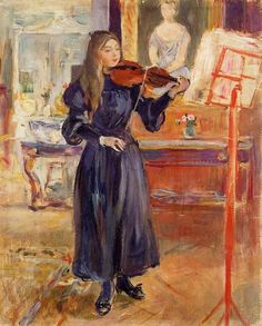 Berthe Morisot, Studying the Violin (1893).  -   Portrait of Julie Manet, the Artist's Daughter.