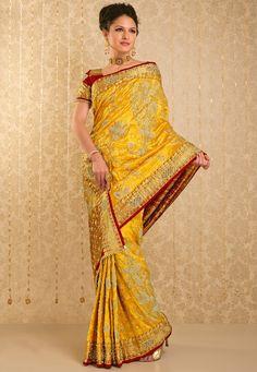 Yellow Banarasi Brocade Silk Saree With Blouse Online Shopping: SBR492