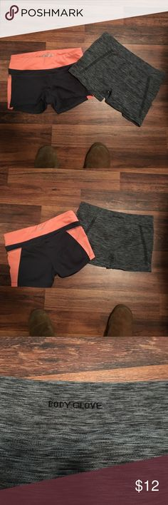 BUNDLE Spandex gym yoga shorts! Small BUNDLE Spandex gym yoga shorts bundle! Size small both. Both stretch. Heather mixed Gray pair is body glove: so it's hugs & lifts, good thick material. Orange & charcoal gray pair are impact: also thicker none-see through material. Both worn and washed once. I love them but I'm to big for them. No defects. Approx measurements: gray mix pair: length: 10 1/2, inseam: 3in, waist:14 1/2in, orange pair: length/front: 8 1/2 back: to 11in, inseam/front 2 & back…