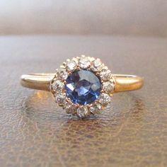 Ringtique  Sapphire and Diamond Victorian Antique by Ringtique