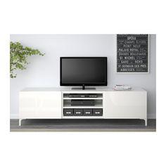 BESTÅ TV-Bank mit Schubladen - weiß/Selsviken Hochglanz/weiß, Schubladenschiene, sanft schließend - IKEA
