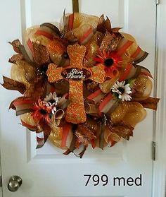 Autumn fall Deco Mesh  Wreath gold, brown give thanks thanksgiving #799