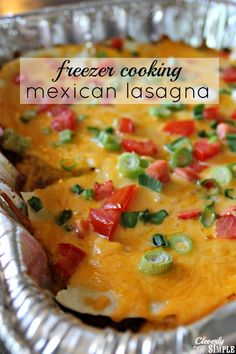 Are you ready to save money and eat out less?  One of the best ways to do that is freezer meals!  Here's one of our family favorites.  This mexican lasagna is delicious!