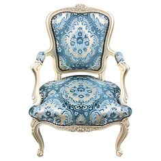 French Chair w/ Velvet Seat French Dining Chairs, Ottomans, Bedroom Ideas, Accent Chairs, Armchair, Blue And White, Velvet, Furniture, Color