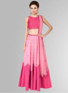 Buy Fabboom Pink Raw Silk Printed Navratri Special Lehariya style Lehenga Choli online in India at best price. Raw Silk Lehenga, Pink Lehenga, Bridal Lehenga Choli, Lehanga Bridal, Bollywood Lehenga, Bollywood Party, Ghagra Choli, Indian Bollywood, Bollywood Fashion