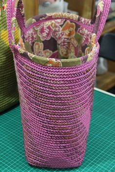 waxed cotton cord crochet bag