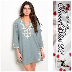 "🌸Now Avaliable Denim Wash Dress🌸 This chambray shift dress features 3/4 sleeves, embroidered details throughout and slitted yoke. Comes in S,M,L 100% COTTON S-M-L  ⭐️Small L: 31"" B: 36"" W: 18"" ⭐️Medium measures 38 inches in the bust ⭐️️️️Large measures 40 inches in the bust Dresses"
