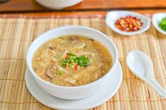 Hot and Sour Soup - vegetarian (with vegan option)