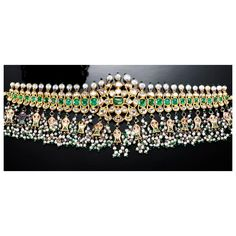 SEED PEARL, RUBY, EMERALD AND DIAMOND CHOKER, INDIAN
