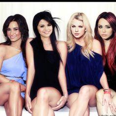 Demi Lovato, Selena Gomez, Taylor Swift, and Miley Cyrus