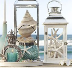 decoratings with seashells - shells and lanterns