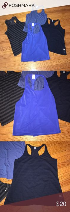 💪🏻 Bundle of Workout Tanks 💪🏻 All worn once and in EUC. All women's size large. Colors are mostly blacks,  blues and grays. Perfect for summer! Brands are Nike, Victoria's Secret and Gap. Price for all four! All so cute, comfy and functional!!! Smoke and pet free home. Thanks for looking! PINK Victoria's Secret Tops Muscle Tees