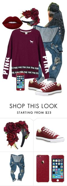 """pink"" by khajay-jordan on Polyvore featuring Converse, Victoria's Secret and Lime Crime"