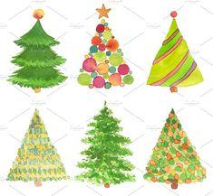 Set of watercolor Christmas tree. by Liliia Rudchenko on @creativemarket