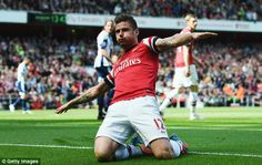 Opener: Olivier Giroud gave Arsenal the lead with a header after 13 minutes