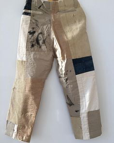 Classic casual business slacks transformed with patchwork and Sashiko stitching. Denim Fashion, Fashion Outfits, Womens Fashion, Ropa Upcycling, Diy Vetement, Patchwork Jeans, Recycled Fashion, Diy Clothes, Work Wear