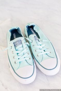 Comfortable wedding shoe ideas - aqua blue color converse {Amy Maddox Photography}