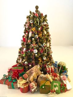 vintage miniature dollhouse 8 christmas tree presents marzipan thread silk trim ebay - Dollhouse Christmas Decorations