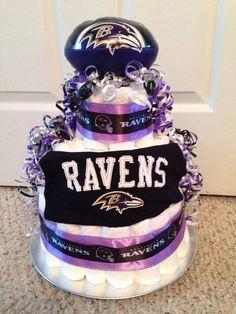 Baltimore Ravens Diaper Cake www.facebook.com/thatdiapercakelady