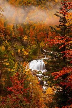 Cascada de Arripas - The Cascada de Arripas waterfall in the Ordesa Valley, Spain Beautiful World, Beautiful Places, Beautiful Pictures, Amazing Places, Autumn Scenes, Fall Pictures, Nature Photos, Belle Photo, Beautiful Landscapes