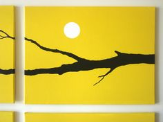 Owl Painting Art Yellow Owl Silhouette Fall Decor by rickycolson