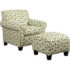 Portfolio Mira Apple Green Modern Floral Arm Chair and Ottoman ($423) ❤ liked on Polyvore featuring home, furniture, chair, green, mod home furniture, modern furniture, floral furniture, green furniture and modern home furniture