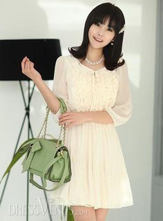 Beautiful Fashionable Flowers Pure Color Wrinkle Leather  Dress with Belt