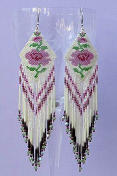 Porcupine Quill Rose Earrings - Extra Long Seed Bead Earrings - 10% Discount Available
