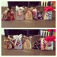 Football mom cowbells decorating party. Football spirit