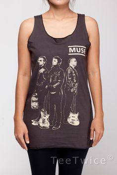 MUSE Shirt Matthew Bellamy Rock Band Shirts Women Tank Top Black Shirt Tunic Top Vest Sleeveless Women T-Shirt Size S M. $15.99, via Etsy.