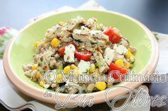 Salada de cevada com milho e frango | O Mundo Culinario de Bia Flores