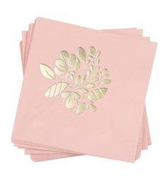 Floral Napkins: Blush/Gold 50 ct