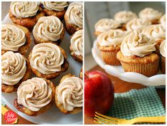 Apple Caramel Cupcakes with cinnamon buttercream icing.  Fall!
