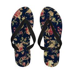 Elegant Vintage Floral Rose Blue Sandals  #beach #vacation #flipflops