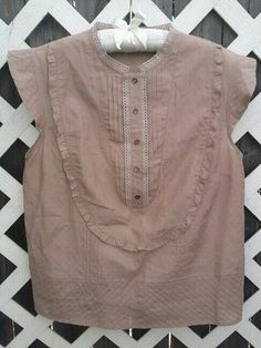 SEE BY CHLOE CAP SLEEVE  HENLEY TOP PLEATED TRIM SILK COTTON BOHO MAUVE 6 DOTS #SeebyChlo #Blouse #Casual