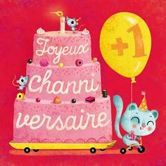 Carte Joyeux channiversaire + enveloppe - Editions de mai - 14 x 14 cm - Bureau/Carterie - espritlogis-fr