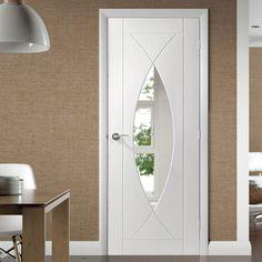 Pesaro White Primed Flush Door with Clear Safety Glass, stunning style! Flush Door Design, Door Design Interior, Wooden Door Design, Wooden Doors, Safe Glass, Clear Glass, Contemporary Internal Doors, Primed Doors, Door Fittings